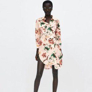 Oversized Floral Shirt Dress